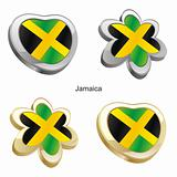 jamaica flag in heart and flower shape