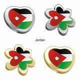 jordan flag in heart and flower shape