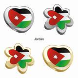 jordan flag in heart and flower shape