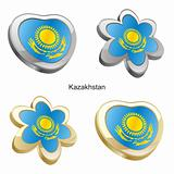 kazakhstan flag in heart and flower shape