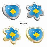 kosovo flag in heart and flower shape
