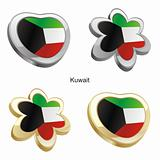 kuwait flag in heart and flower shape