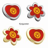 kyrgyzstan flag in heart and flower shape