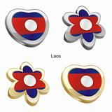 laos flag in heart and flower shape