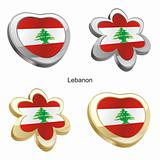 lebanon flag in heart and flower shape