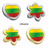 lithuania flag in heart and flower shape