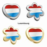 luxembourg flag in heart and flower shape