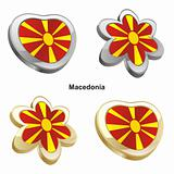 macedonia flag in heart and flower shape