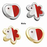 malta flag in heart and flower shape