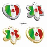 mexico flag in heart and flower shape