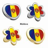 moldova flag in heart and flower shape