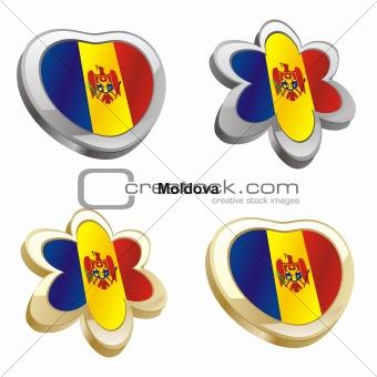 moldova flag in heart and flower shape