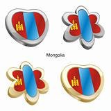 mongolia flag in heart and flower shape