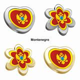 montenegro flag in heart and flower shape