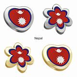 nepal flag in heart and flower shape