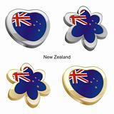 new zealand flag in heart and flower shape
