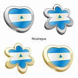 nicaragua flag in heart and flower shape