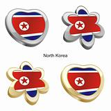 north korea flag in heart and flower shape