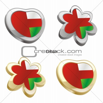 oman flag in heart and flower shape