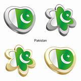 pakistan flag in heart and flower shape