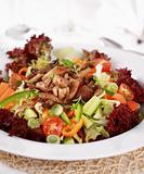 Vegetable salad with oyster mushroom