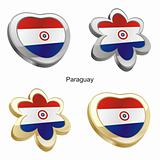 paraguay flag in heart and flower shape