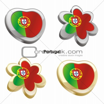 portugal flag in heart and flower shape