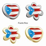 puerto rico flag in heart and flower shape