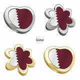 qatar flag in heart and flower shape