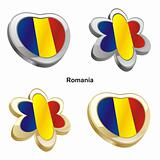 romania flag in heart and flower shape