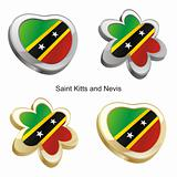 saint kitts and nevis flag in heart and flower shape
