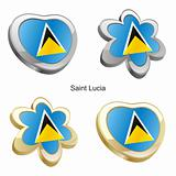 saint lucia flag in heart and flower shape