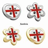 sardinia flag in heart and flower shape