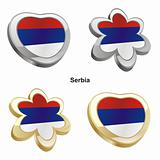 serbia flag in heart and flower shape