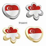 singapore flag in heart and flower shape