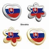 slovakia flag in heart and flower shape