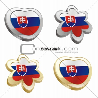 slovakia flag in heart and flower shape