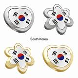 south korea flag in heart and flower shape