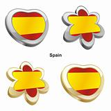 spain flag in heart and flower shape