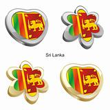 sri lanka flag in heart and flower shape