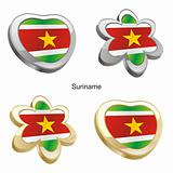 suriname flag in heart and flower shape