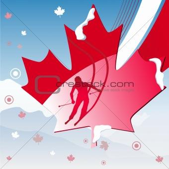 Canadian maple leaf skier