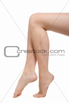 beautiful naked woman legs isolated on white
