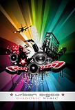 Music Event Background with Crazy DJ Shape for Disco Flyers
