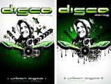 Music Event Background with Disk Jockey Shape for Discoteque Flyers