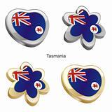 tasmania flag in heart and flower shape