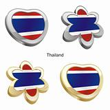 thailand flag in heart and flower shape