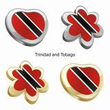 trinidad and tobago flag in heart and flower shape