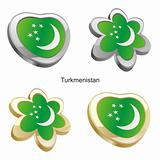 turkmenistan flag in heart and flower shape