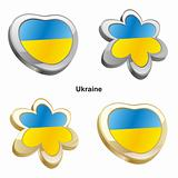 ukraine flag in heart and flower shape